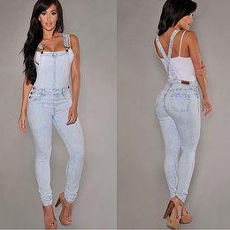 Jumpsuit calças folgadas on-line-Mulheres Sexy Slim Fit Folgado Solto Jeans Macacão Jeans Calças Macacão Macacão Y190429