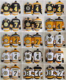Hockey boston jersey online-Boston 4 Bobby Orr Bruins 7 Phil Esposito-Trikot-Männer Vintage CCM 75. Eishockey-Trikots genäht