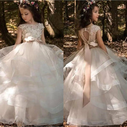 beaded back wedding dress bow Coupons - 2019 Modern Flower Girls' Dresses Cap Sleeves Tulle Ruffles Skirt Lace 3D Floral Beaded Bow Sash Kids Formal Wear Hollow Back Girls' Dresses