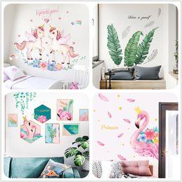 adesivo de parede de unicórnio Desconto 20 estilos crianças wall art pictures ins decoração do quarto adesivos unicorn flamingo geather árvore adesivos de parede home decor adereços adesivo