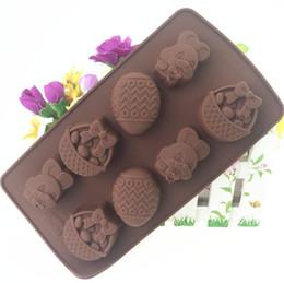 chocolate com chocolate de silicone Desconto Coelho da páscoa ovo de chocolate molde de silicone fondant sugar bow craft moldes diy ferramentas de cozimento do bolo presentes do dia de páscoa ooa6374