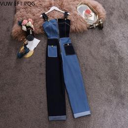 комбинезон Скидка Sexy Denim Jumpsuit Women Romper sleeveless Belt Bla/ Blue Spliced Summer Jeans Jumpsuit Female 2019 Streetwear Overalls