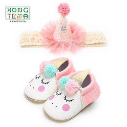 party dress white boys Promo Codes - New 2pcs set Top Hat Headband+Blush Angle Unicorn Baby Girl Soft Sole Shoes Party Dress Up Newborn Infant Toddler Moccasins