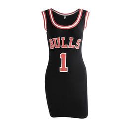 Knielänge sportkleider online-Damen Sommer Kleid Frauen Nette Bodycon Bulls Sporting Jersey Über Knielangen Oansatz Tunika Kleider Gigi Hadid Stil Vestidos Y19051102
