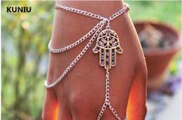 braccialetti di schiavo di modo Sconti Fatpig Hamsa Hand Silver Slave Bracciale Ring, catena Harness Fashion Jewellery