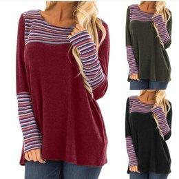 d15ce7b8447 T-shirt à manches longues tunique décontractée à manches longues à rayures  multicolores à manches longues pour femmes