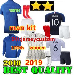 yellow football socks Promo Codes - Adulte kit 2 Stars 2019 100th anniversary GRIEZMANN MBAPPE POGBA soccer jerseys KANTE man jerseys football GIROUD Maillot de foot socks
