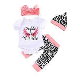 Argentina Bebé recién nacido ropa de niña Trajes de recién nacidos Traje de bebé Mameluco del bebé de manga corta + Pantalones Harem + arcos diadema + sombreros Beanie Conjuntos para bebés A4203 cheap zebra pant suit Suministro