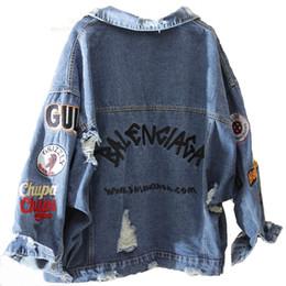 bf jeans Sconti 2019 BF Harajuk Giacca di jeans allentata Giacca da donna ricamata Jeans Cappotto Jeans monopetto con foro hip hop Giacca da donna casual Y190905