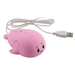 ratón delfín Rebajas Mini Mouse 1200 DPI lindo Dolphin óptico con cable USB Mouse Juego PC portátil de plástico rosa