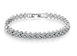 diamante cristalino americano Rebajas pulsera anillo de cristal de circón mujer pulsera romana moda europea y americana de lujo exquisita joyería del diamante