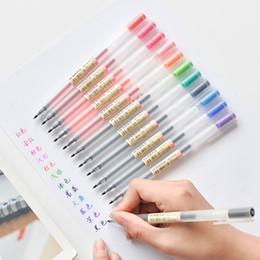 Färbung gel-stifte online-12 Teile / los Gel Stift 0,5mm Farbe Ink Pen Maker Schule Bürobedarf Muji Stil 12 Farben
