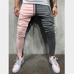 pantalón formal slim fit para hombre Rebajas Pantalones de chándal slim fit con cordón Pantalones de chándal a rayas Bloque de color Patchwork Pantalón de chándal Pantalones deportivos de hip hop Pantalones largos D18122901