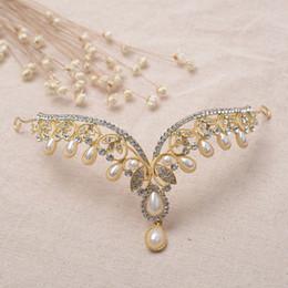 Diadème de perle avec strass en Ligne-Mode Or Strass Waterdrop Feuille Front Bandeaux Vintage Cristal Perle Diadèmes Couronne Frontlet Accessoires De Cheveux De Mariage