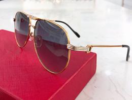Cajas de madera de lujo online-3139987 Gafas de sol de lujo con diseño de metal Piloto Gafas de montura hechas a mano Madera Lentes Lentes Láser de calidad superior Protección UV400 Con estuche