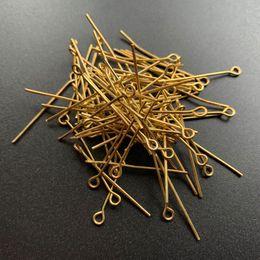 pin 3cm Rebajas 200 unids chapado en oro calibre cabezas de metal pernos de ojo para la joyería que hace suministros accesorios de metal pin hallazgos accesorios al por mayor sobre 2.8-3 cm