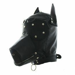 Masken geknebelt online-Maskerade-Kostüm-Hundewelpen-Kopfmaske mit Kragen Full Face Hood Partei Cosplay Mundknebel Halsband mit Reißverschluss muzzel Set