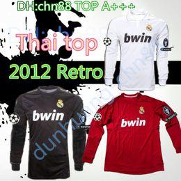 Ronaldo camisa manga longa real madrid on-line-2011 2012 Retro Real Madrid manga longa camisa de futebol 11 12 RAMOS KAKA RONALDO BENZEMA ALONSO camisa de Futebol clássico