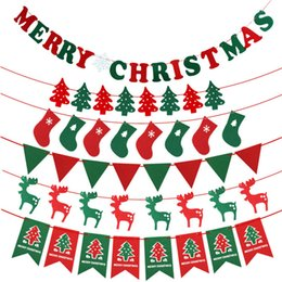 caixas de natal ornamentos atacado Desconto Novo Feliz Natal Bandeiras Da Bandeira Da Árvore de Natal Janela Parede Pendurado Decorações De Natal Festivo Navio Da Queda wn624