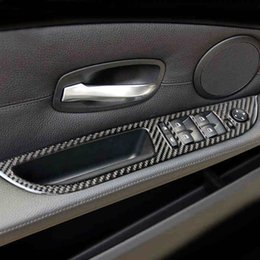 Tigela de porta on-line-Porta Do Carro Botões de Painel De Fibra De Carbono Auto Porta Tigela Adesivos Cobre Acessórios Para BMW Série 5 E60 E61 F10 2005-17 Car Styling
