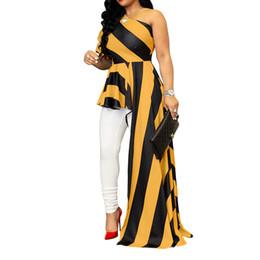 2018 Mujeres Nueva Moda de Verano Raya Slash Cuello de Un Hombro Manga Puff Dobladillo asimétrico Blusas J190615 desde fabricantes