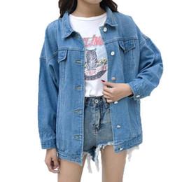jaqueta jeans ajustada longa Desconto Yiwa Mulheres Jaqueta de Mangas Compridas Denim Casaco Casaco Na Moda Casual Top Solto Fit Casaco Curto Casuais Outerwear Senhoras Tops Plus Size