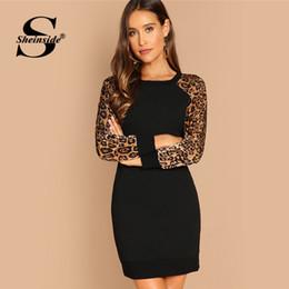 vestidos de leopardo Desconto Sheinside Leopard Bodycon Raglan manga mulheres vestido de outono Casual mulheres vestidos 2018 inverno senhoras túnica preto Mini vestido