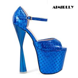Sapatos de plataforma alta do céu on-line-Aimirlly Mulheres Sapatos Peep Toe Sandálias De Plataforma De Salto Alto Sky Sexy Saltos Fivela Strap Partido Clubwear Sapatos 20 cm