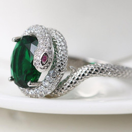 2019 filme especial Designer de jóias famoso filme anéis anéis de forma de cobra verde zircon para as mulheres especial hot fashion livre de transporte filme especial barato