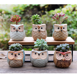2019 vaso da scrivania Creativo vaso di fiori in ceramica a forma di gufo 2018 Nuovo vaso di fiori in ceramica scrivania vaso di fiori Carino Design vaso succulente vaso da scrivania economici