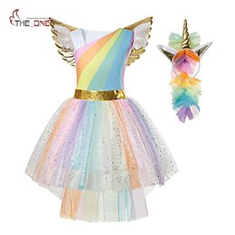 MUABABY Girl Unicorn Dress Up Kids Summer Rainbow Sequin Party Tutu Dress Girls Paguret Tulle Cosplay con ala diadema desde fabricantes
