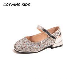 2019 мягкие каблуки CCTWINS Детская обувь 2019 осень Baby Fashion пришивания Mid Heeled обуви девушки вскользь Glitter плоские для детей Soft Black Shoe GH1752 дешево мягкие каблуки
