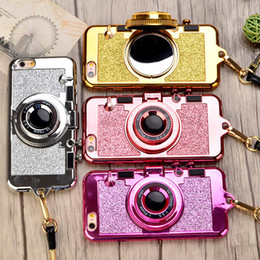 Marcas de cajas del teléfono de corea online-Luxury korean Brand Bling Camera Glitter Phone Cases for iPhone X 8 7 6s Plus Soft Silicone Case Stand Holder Mirror Lanyard