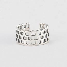 Vintage Oco Geométrica Dedo Largo Anel para Mulheres Dos Homens Genuine 925 Sterling Silver Open Cuff Anéis Dedo Jóias YMR424 de Fornecedores de algemas