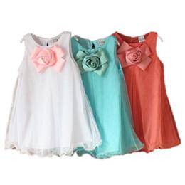 Viejo chaleco de bebé online-Ropa para niños 2019 verano nuevo cofre tridimensional flores chaleco niñas dress2 3 4 5 6 7 8 años ropa de niña bebé