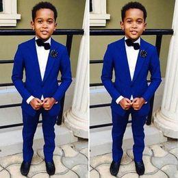 костюмы для общения Скидка Высокое качество Синий мальчик свадебный костюм одна кнопка дети формальные смокинги мода партии свадебные костюмы из трех частей(куртка+брюки+галстук+жилет)