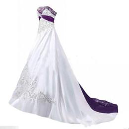 Vestidos de novia elegantes de alta calidad 2019 una línea sin tirantes bordado blanco púrpura Vintage vestidos de novia por encargo desde fabricantes