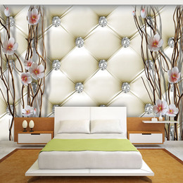 Argentina Personalizado Mural Wallpaper 3D Relieve Diamante Ciruelo Ramas Pintura Mural Arte Suave Paquete Sala de estar TV Telón de fondo Decoración Del Hogar cheap wallpaper packages Suministro