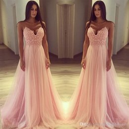 11975dd47393 Pink Prom Dresses Emprire Waist Spaghetti Straps A Line Tulle Sweetheart  Neck Long Formal Evening Party Gowns Plus Size WP812