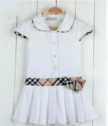 Vetement fille jupe en Ligne-Enfants Robe Jersey Bébé Fille Robe Vente Chaude Robes pour Enfants enfant enfants à carreaux robe pour filles filles col jupe vêtements filles robes