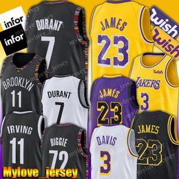 Camisas de basquete on-line-Net Kevin Durant 7 Jersey LeBron James 23 Jersey 11 Kyrie Irving Jerseys Anthony 3 Davis Basquete Jerseys 72 Preto Biggie