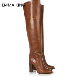 2020 oberschenkel hohe cowboystiefel Vintage Brown Leder Block Heels über das Knie Stiefel Frauen Spitz High Heels Schuhe Frau Winter Oberschenkel Hohe Cowboystiefel günstig oberschenkel hohe cowboystiefel