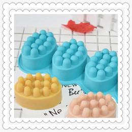 Ovo puro on-line-4 contíguo elipse moldes de cozimento de silicone cor pura resistente ao calor ovo forma de massagem sabão molde diy produção bakeware 12 twd1