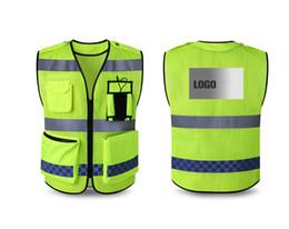 Envío gratuito Chaleco reflectante de advertencia chaleco de guardia de seguridad buiding grupo de tráfico chaqueta fluorescente logotipo personalizado de impresión desde fabricantes