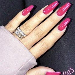 24 teile satz Mittlere Lange Sargförmige Falsche Nägel Pre design Europäischen Künstliche Ballerina Nägel Kunst Tipps Gefälschte mit Kleber