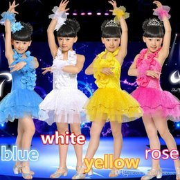 mädchen latin röcke Rabatt Neue Latin Dance Dress Kinder Performance Kleidung Mädchen Tutu Rock Kostüme Dance Wear 4 farbe Freies Verschiffen