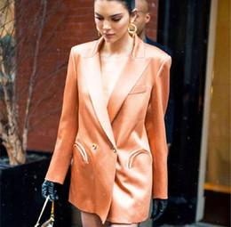 Casaco de laranja cor mulheres on-line-Alta Qualidade Cor brilhante Blazer Mulheres Jaqueta Escritório Terno Outwear xale gola dupla breasted Terno Laranja Mulheres designer de Blazers