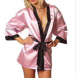 2020 lingerie de babydoll rosa feminino cores rosa Mulheres Sexy Silk Kimono Dressing Lingerie Pijama Un peignoir Babydoll Lace Lingerie Belt Banho Roupa de Noite de Mulheres lingerie de babydoll rosa feminino barato