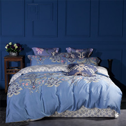 Ropa de cama de satén rosa de lujo online-Juego de cama de satén de seda Juego de cama de algodón egipcio de lujo King Queen Size de alta calidad Blanco Rosa azul Juego de cama Ropa de cama Funda nórdica
