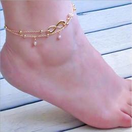 2019 catena sexy dei piedi della signora donne Lady doppio argento 925 cavigliera catena cavigliere braccialetto braccialetto sexy sandali a piedi nudi sandali femmes piede gioielli spiaggia catena sexy dei piedi della signora economici